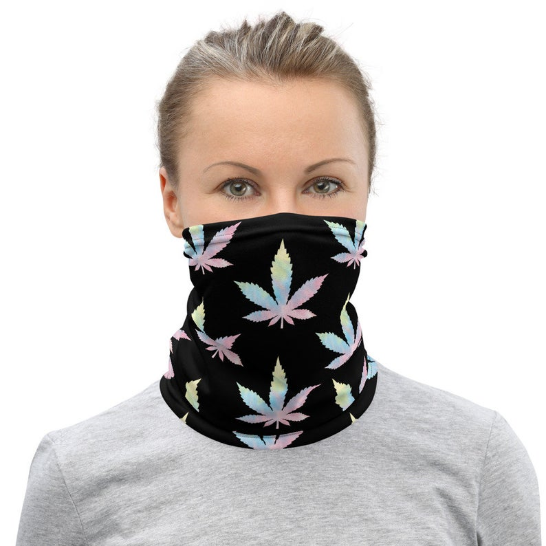 Weed Face Mask - Cute Tie Dye Rainbow Weed Leaf Gaiter