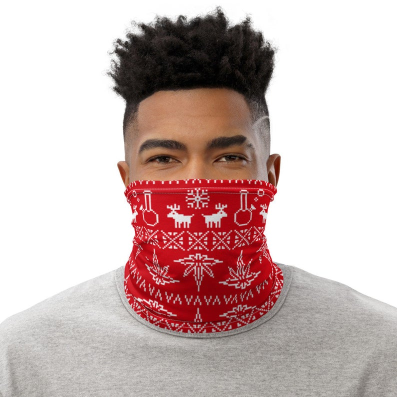 Weed Face Mask - Ugly Red Christmas Sweater Neck Gaiter