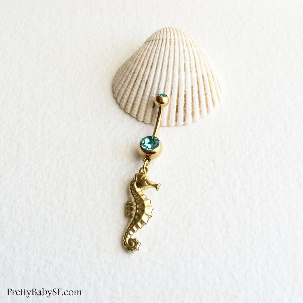 Seahorse Belly Ring - Brass