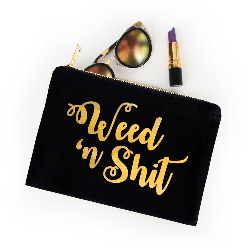 Weed n Shit Cosmetic Bag - Gold Foil