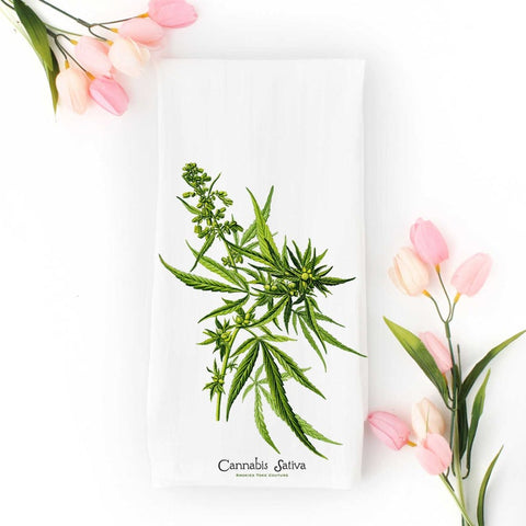 Cannabis Tea Towel - Vintage Botanical Illustration