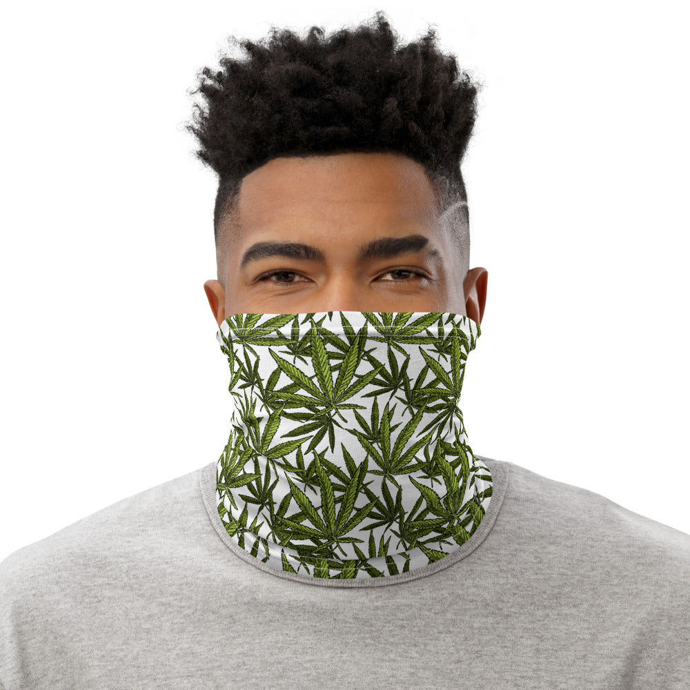 Weed Face Mask  - Vintage Green Pot Leaf White Neck Gaiter