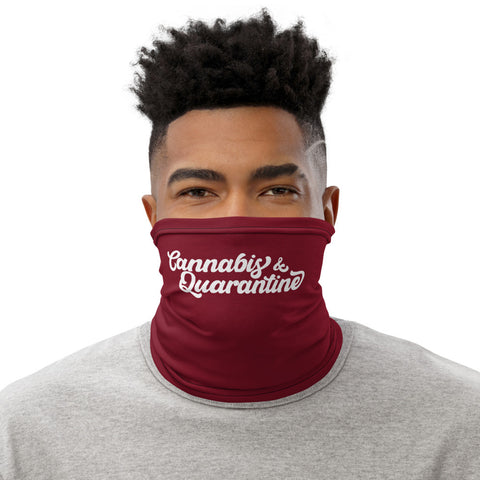 Weed Face Mask - Cannabis and Quarantine Burgundy Neck Gaiter