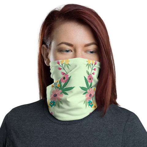 Weed Face Mask - Cannabis Floral Leaf Neck Gaiter