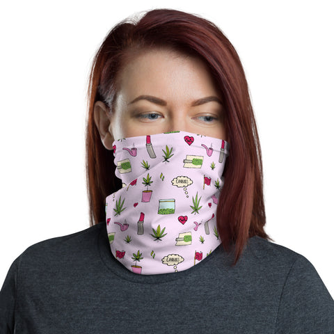 Weed Face Mask - Cute Pink Cannabis Doodles Neck Gaiter