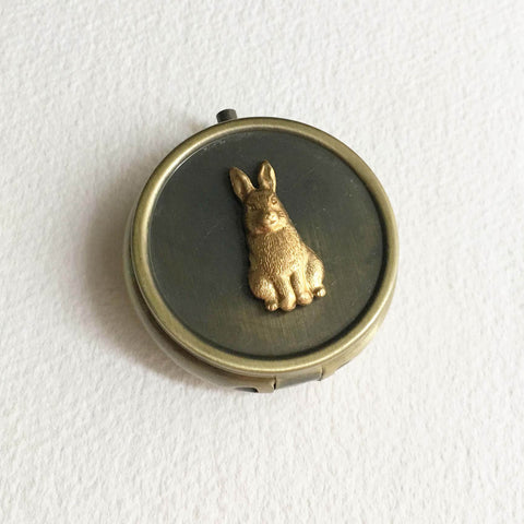 pillbox vintage cannabis box tin bunny
