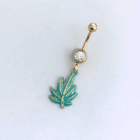 gold belly button ring body jewelry navel green