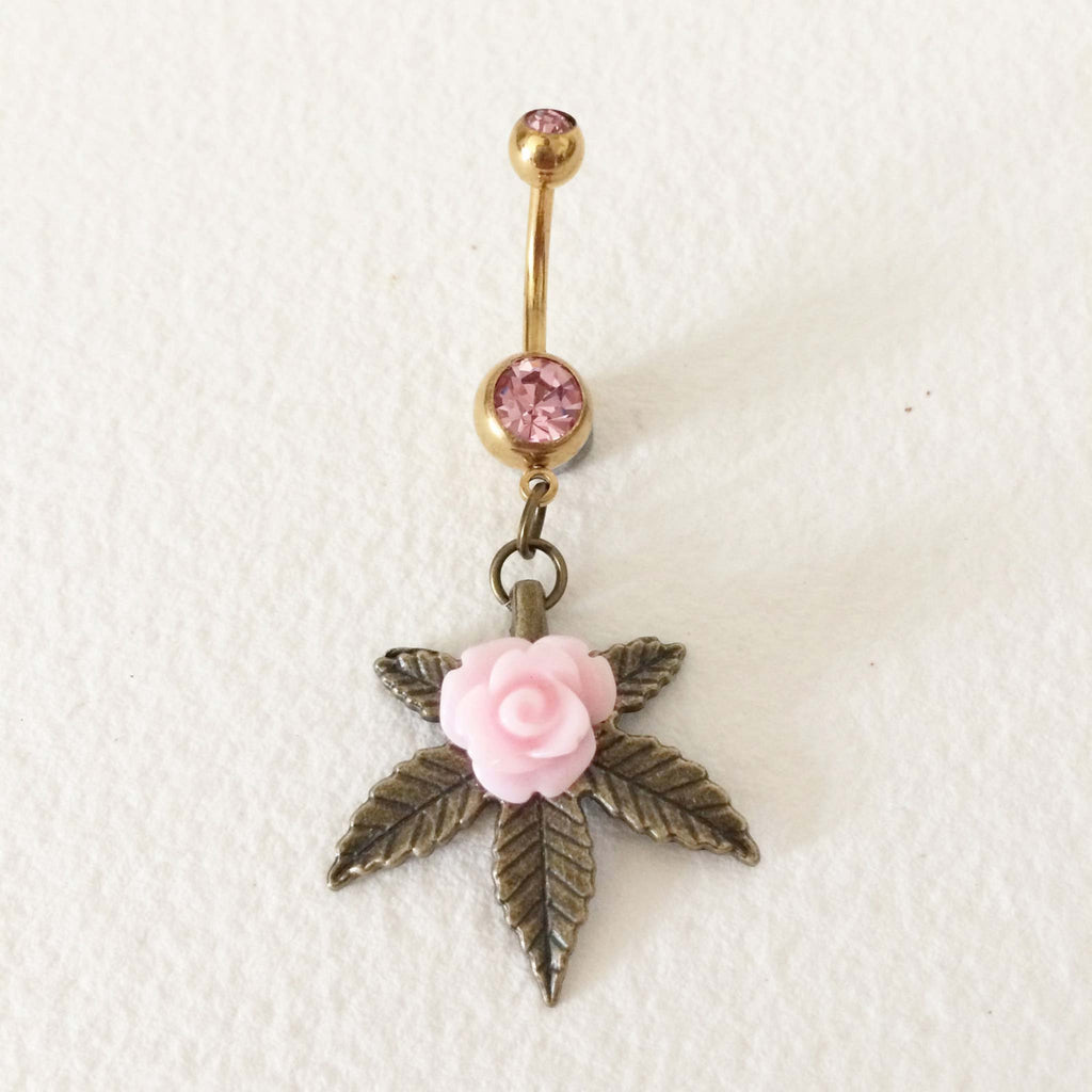 weed belly ring cute pink rose bellybutton ring