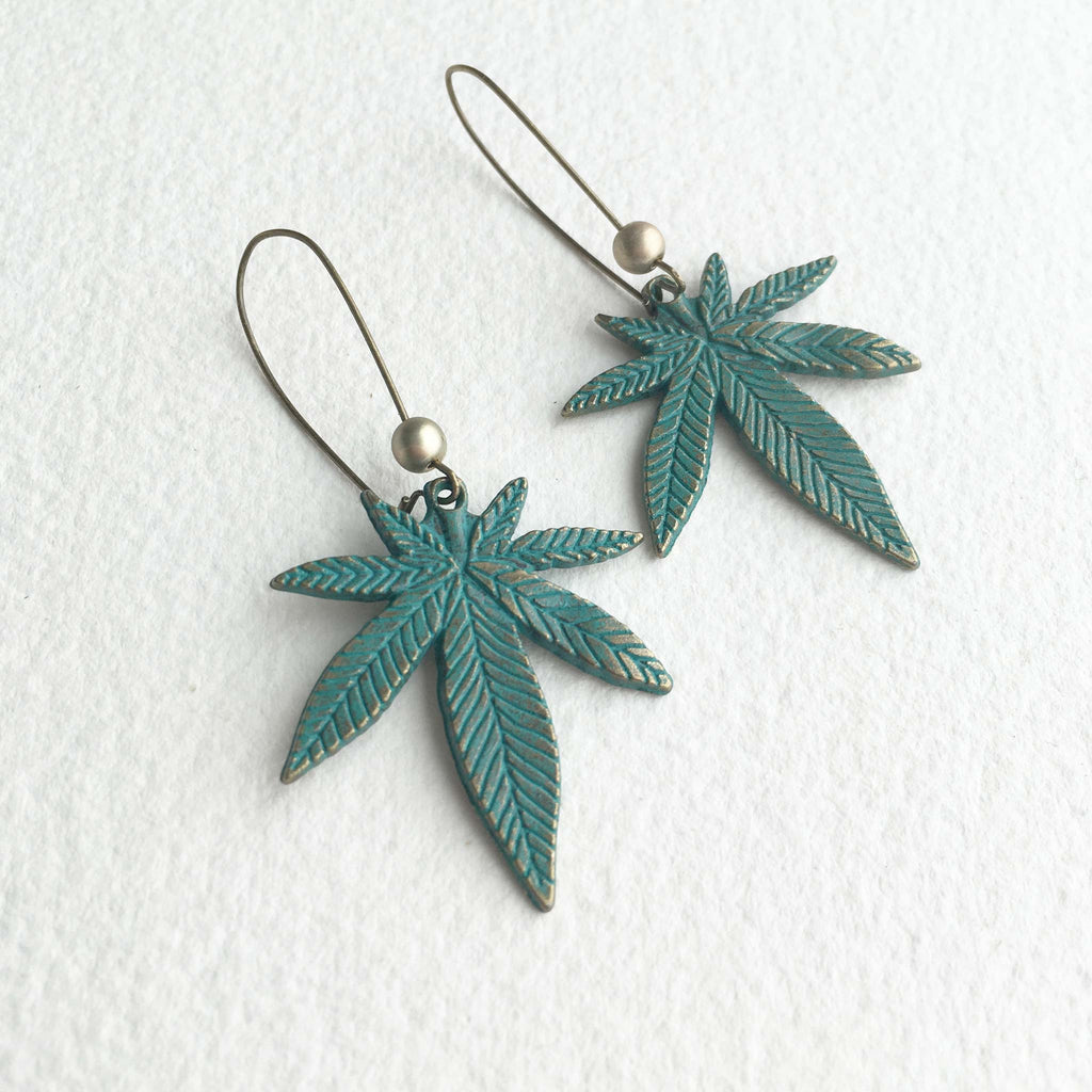 green cannabis earring jewelry patina