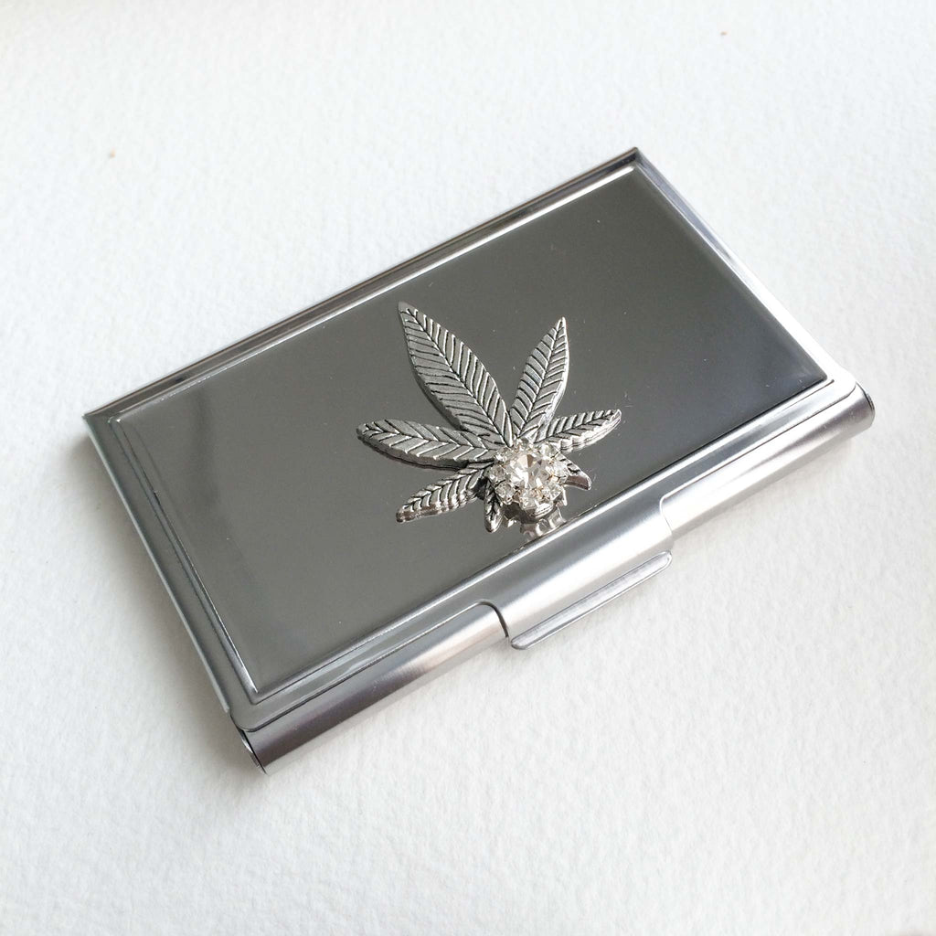 cannabis business card case wallet