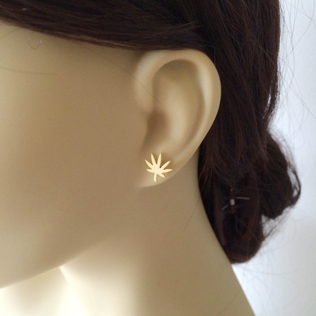 weed gift cannabis jewelry gold earring