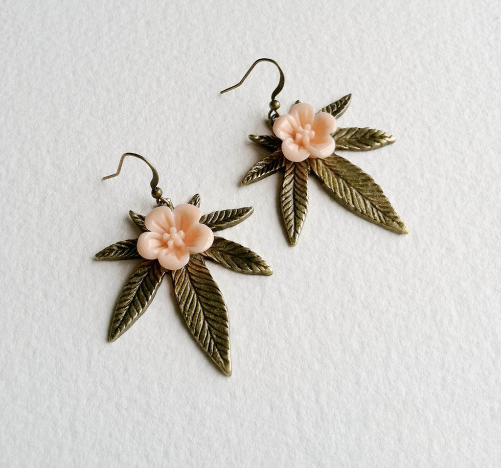 Sakura Weed Earring - Cannabis Jewelry
