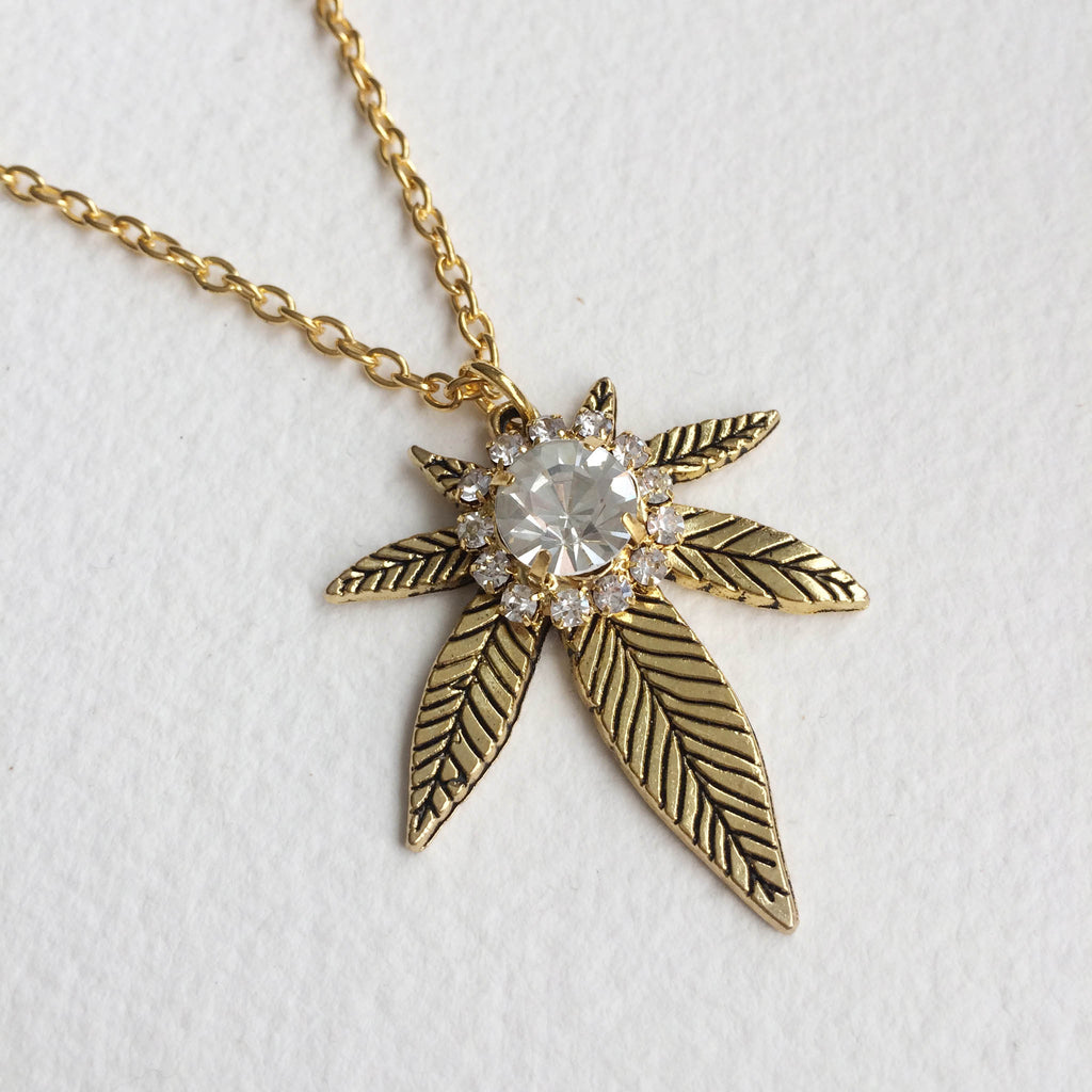 gold weed necklace jewelry