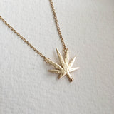 cannabis necklace gold weed jewelry