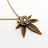 vintage weed necklace pearl bronze