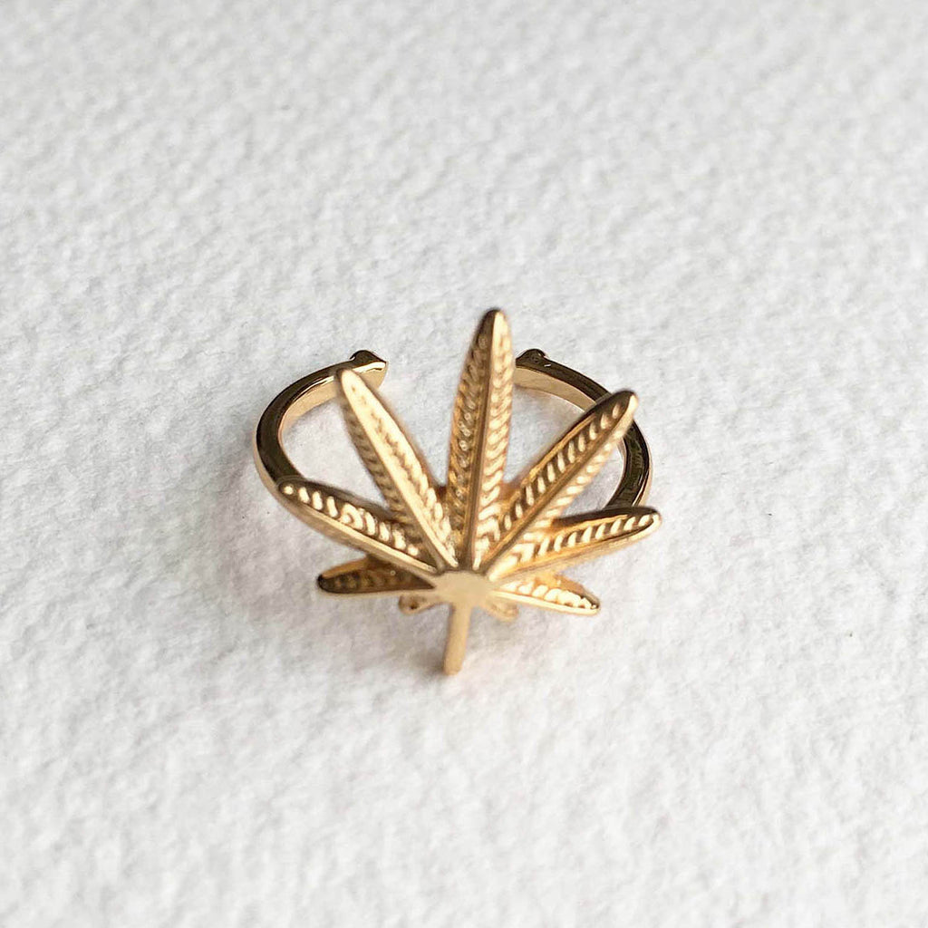 gold weed cannabis ring weed wedding