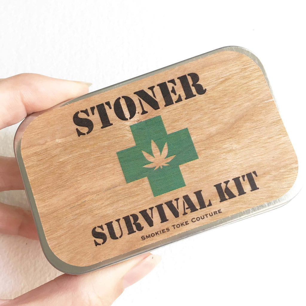 stoner survival kit weed tin stash box