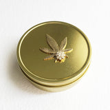 gold weed tin stash box