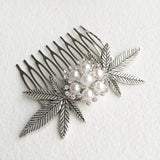 weed wedding comb hair accessory pearl