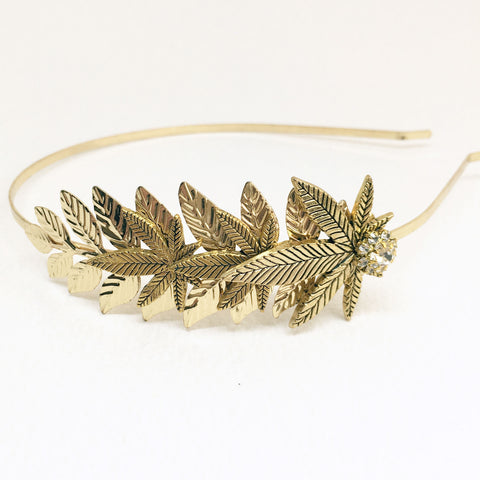 gold weed wedding headpiece