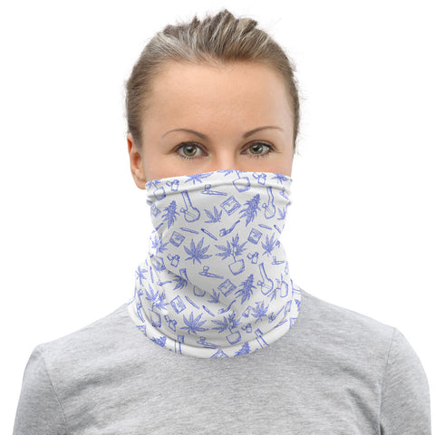 Weed Face Mask - Blue Toile Neck Gaiter