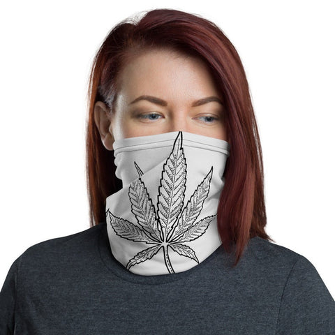 Weed Face Mask - Vintage Black Grey Gothic Leaf Neck Gaiter