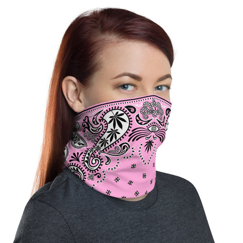 Weed Face Mask - Girly Pink Bandana 420 Gaiter