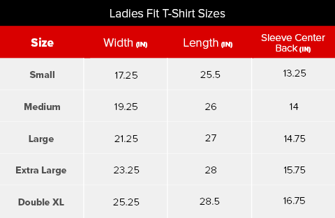 Ladies T-Shirt Size Chart
