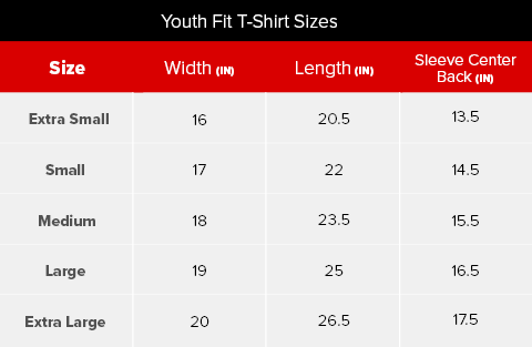 Stratford Festival Youth T-Shirt Size Chart