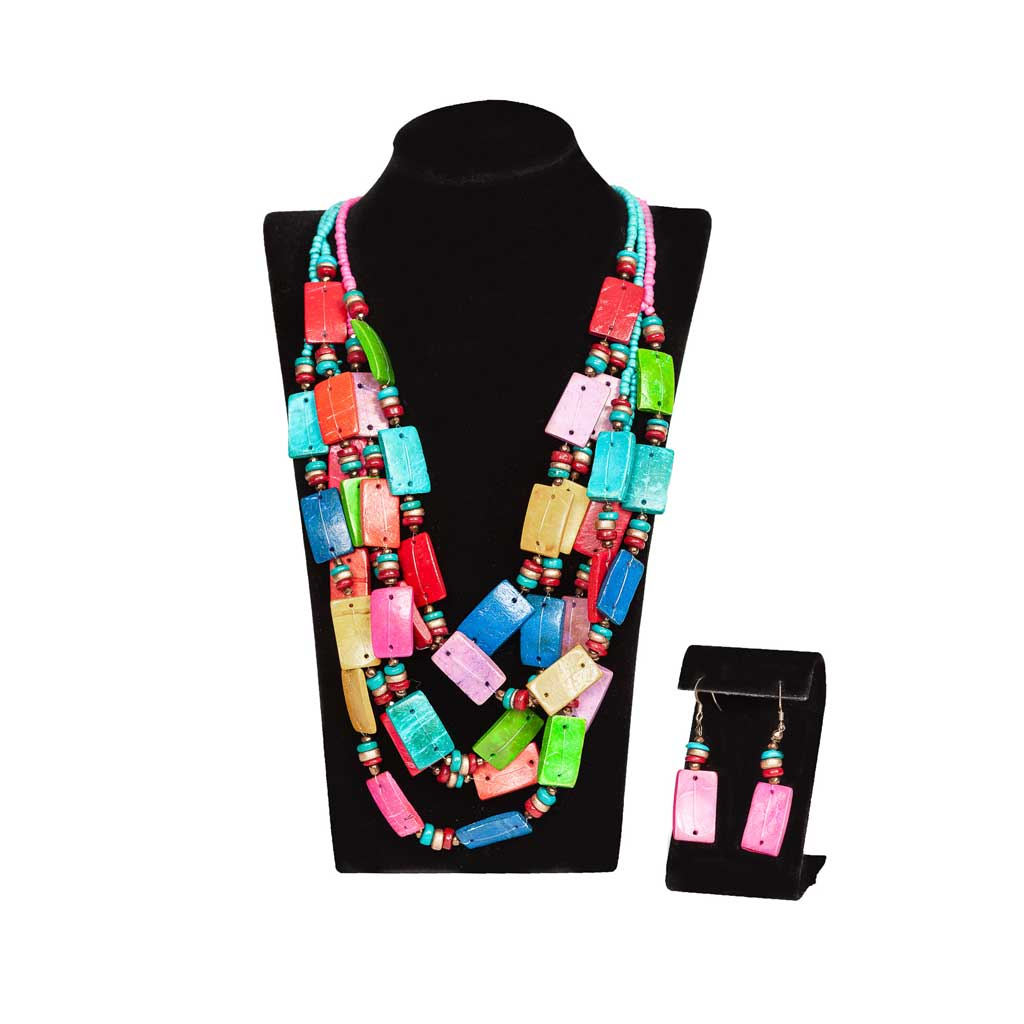 Multicolor Wood Necklace and Earring Set