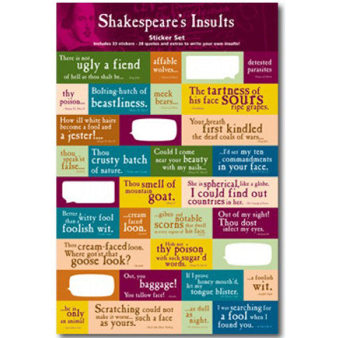 Shakespeare's Insult Quotations Stickers