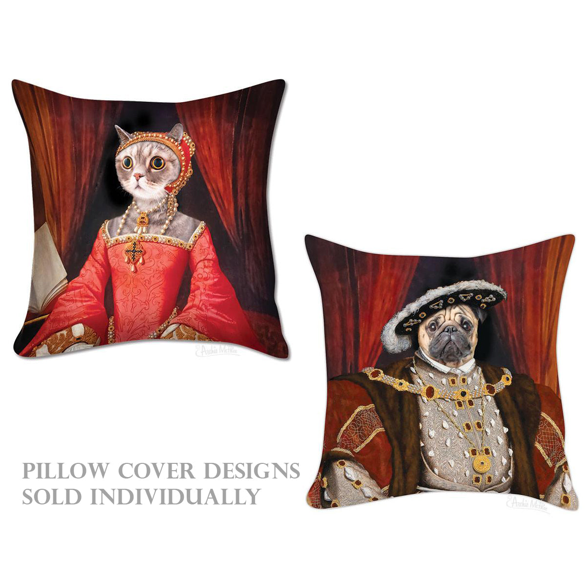 Renaissance Cat/Pug Pillow Covers