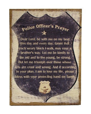 Police Officer Prayer Wall Decor Burlap