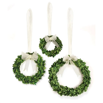 Boxwood Wreath Wh. Ribbon