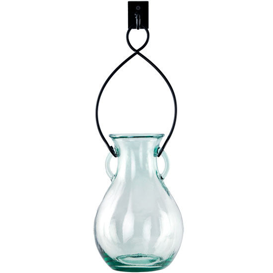 "18"" Hanging French Country Glass Vase with Wall Hook"