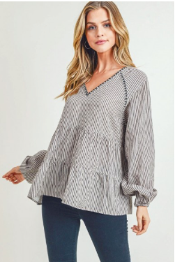 Taupe-Striped Long Sleeve