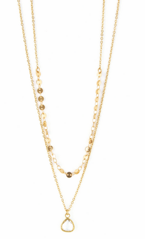 2 Layer Gold Necklace w/ Crystal Charm