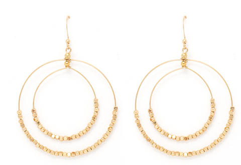 Double Circle w/ Beads Earring