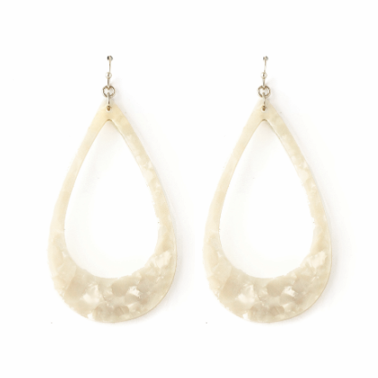 White Marbled Acrylic Earring