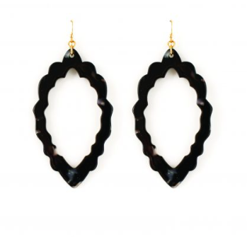 Black Marbled Scalloped Earring