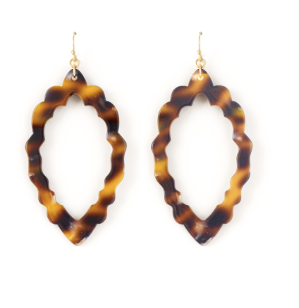 Brown Scalloped Acrylic Earrings