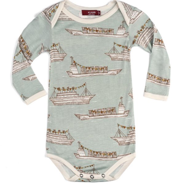 Bamboo Blue Ship Onesie