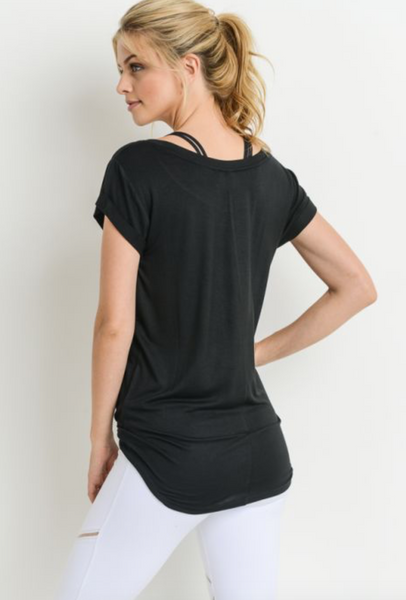 Round Cap Sleeve Shirt