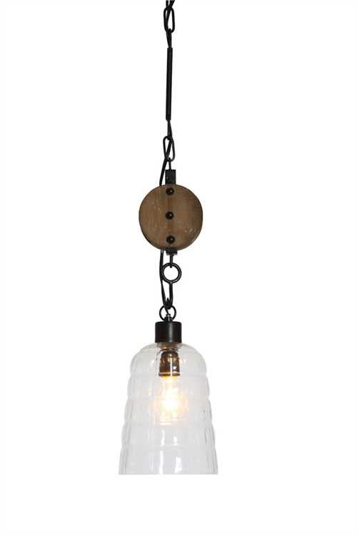 Round Glass Hanging Pendant Lamp w/ Wood Pulley
