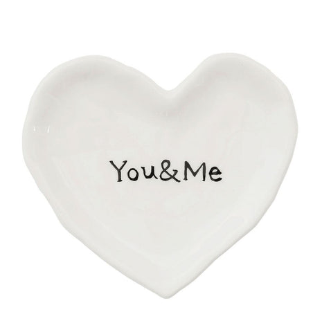 "White ""You & Me"" Heart Dish"
