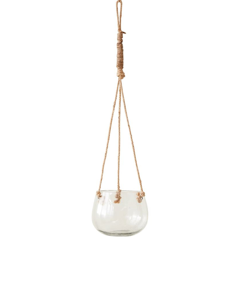 Glass Hanging Vase with Jute Rope