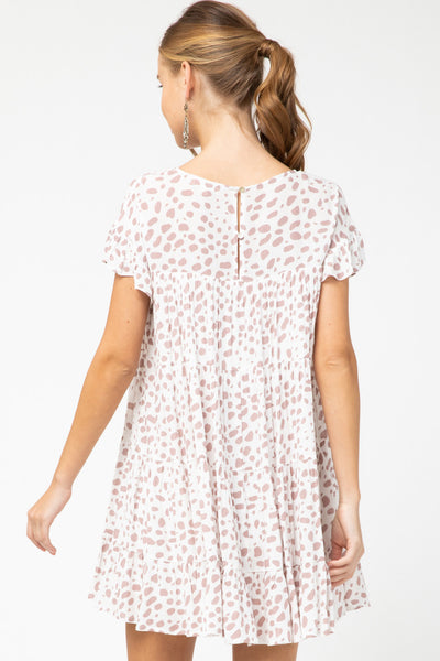 Dotted Scoop-Neck Dress