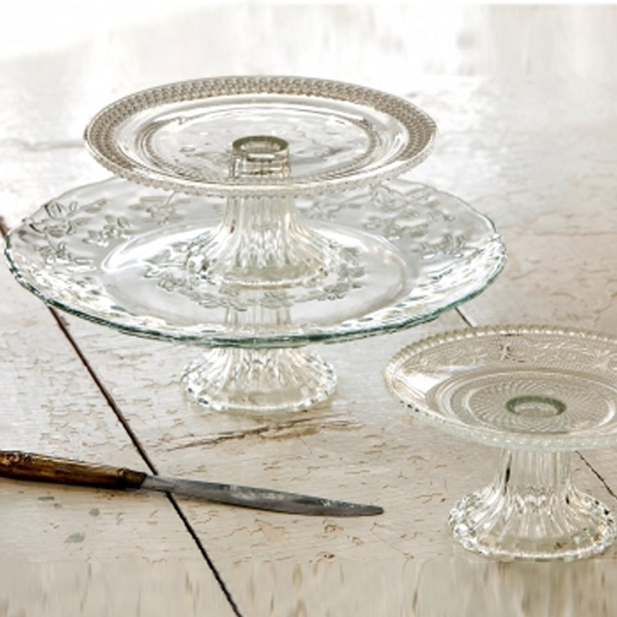 Glass Cake Plates Mixed Set of 3