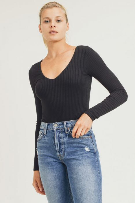 Long Sleeve Ribbed Body Suit