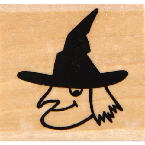 wood stamp - witch head